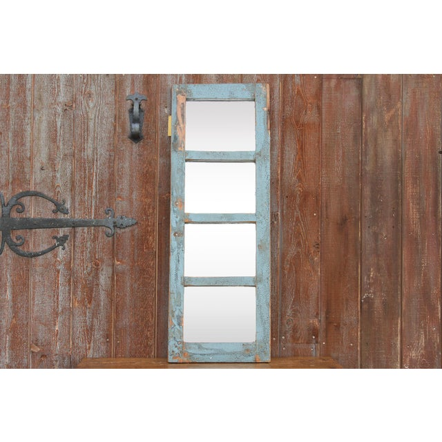 Early 20th Century Rustic Paneled Window Mirror For Sale - Image 5 of 5