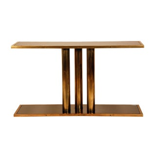 "The ""Calandre"" Brass and Bronze Mirrored Console For Sale"