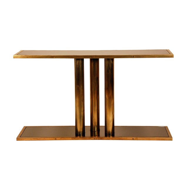 """The """"Calandre"""" Brass and Bronze Mirrored Console For Sale"""