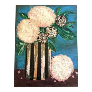 Hydrangeas Floral Still Life Oil & Mixed Media Painting For Sale