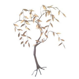 Jere Brass & Bronze Will Tree Wall Sculpture For Sale