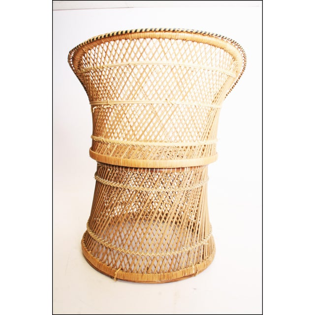 Vintage Boho Chic Wicker Barrel Chair For Sale - Image 5 of 11