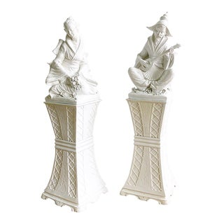 Vintage Italian Male & Female Statues on Stands - a Pair For Sale