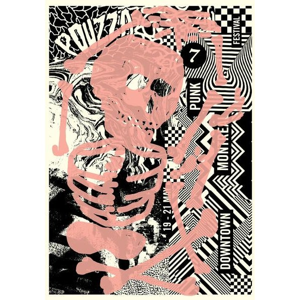 Contemporary 2017 Contemporary Music Poster - Pouzza Punk Festival For Sale - Image 3 of 3