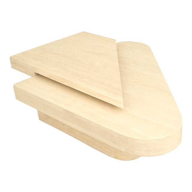 American Two-Tiered Geometric Travertine Coffee Table For Sale