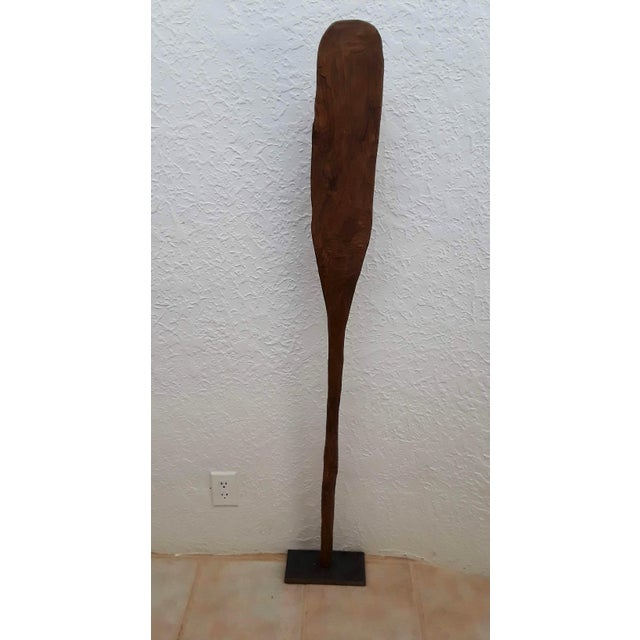 Lodge Primitive Canoe Paddle on Custom Stand For Sale - Image 3 of 5