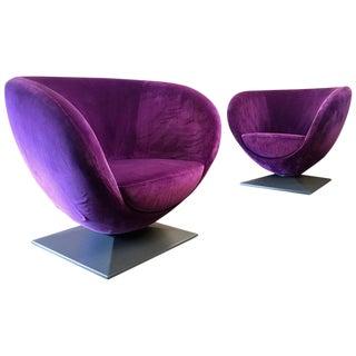 Italian Purple Velvet Swivel Lounge Chairs- A Pair For Sale