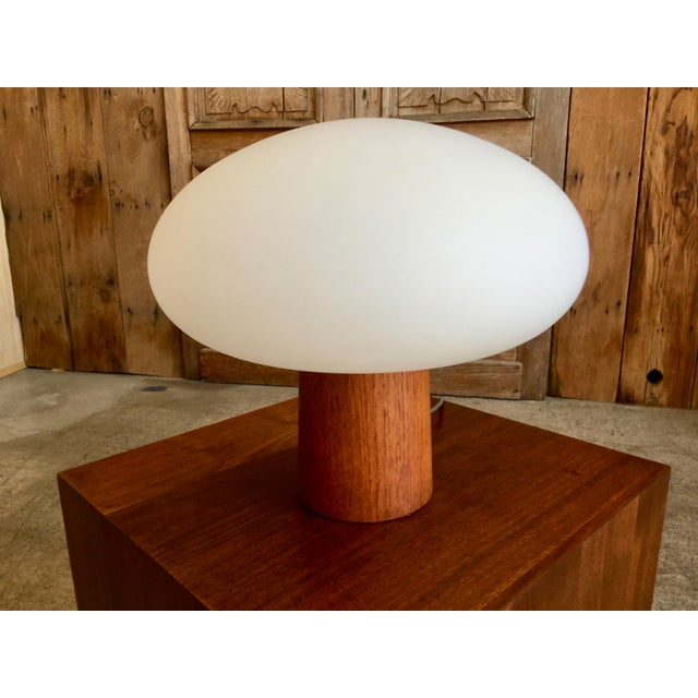 Mid 20th Century Mid-Century Modern Mushroom Lamp Frosted Glass With Teak Base For Sale - Image 5 of 6