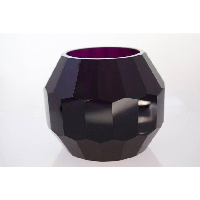 Beautiful large dark violet hand cut and hand polished crystal vase. The piece is unsigned but firmly attributed to Josef...