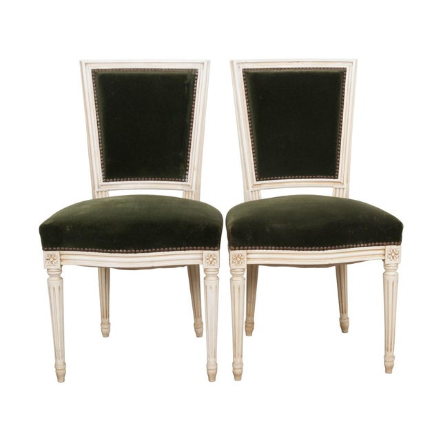 French Vintage Louis XVI Painted Side Chairs - a Pair For Sale - Image 11 of 11