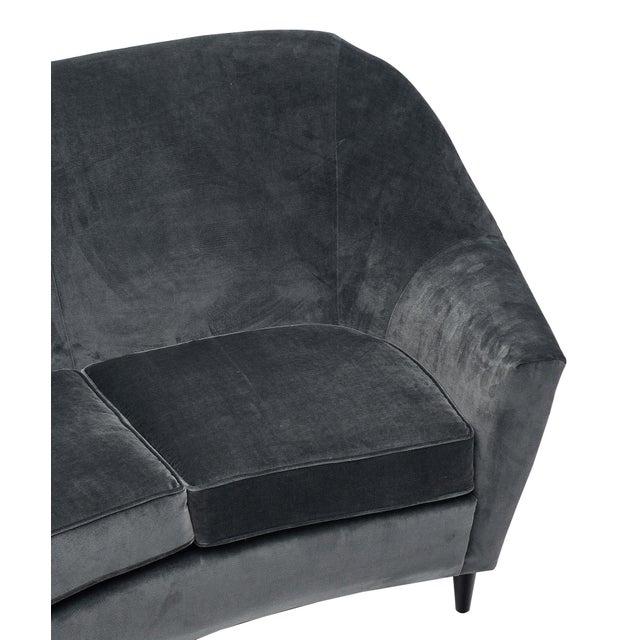 Modernist Gray Velvet Sofa For Sale - Image 4 of 10