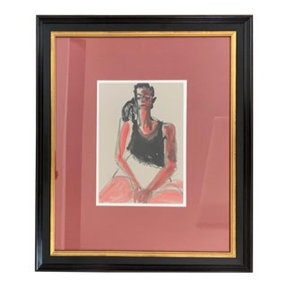 1990s Framed Woman Portrait Drawing For Sale