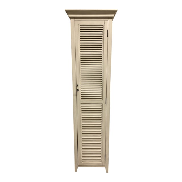 Restoration Hardware Shutter Tall Distressed Taupe Bath Cabinet