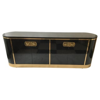 1970s Mastercraft Black Lacquered and Brass Sideboard / Dresser For Sale
