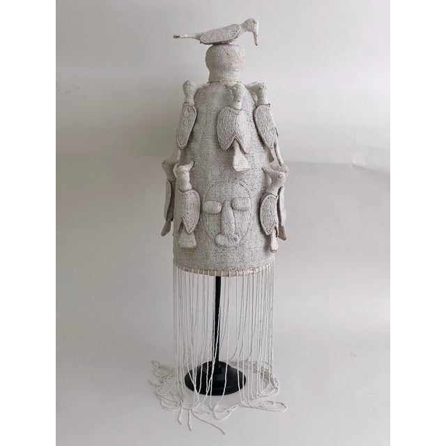 White Nigerian Beaded Kings Crown on Stand For Sale - Image 8 of 8