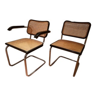 Mid Century Modern Marcel Breuer Cesca Italian Chrome Wicker Cane Chairs - a Pair For Sale