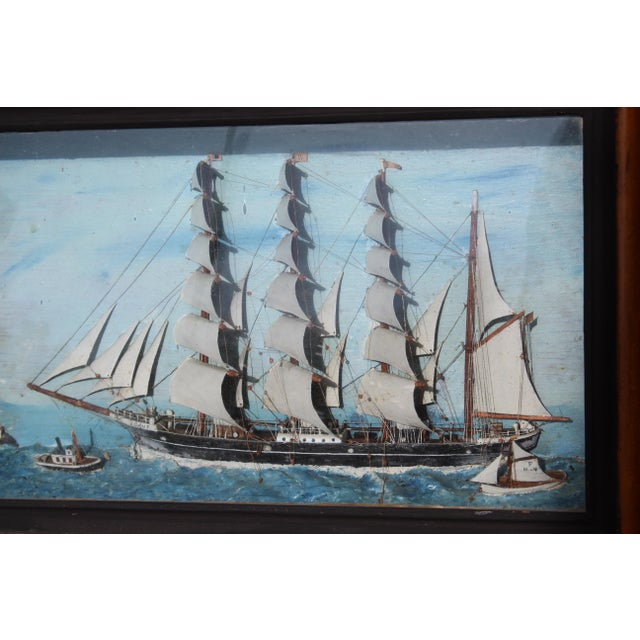 Blue 19th C. Antique American Sailing Ship Painting For Sale - Image 8 of 10