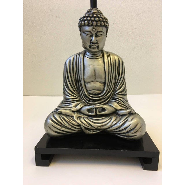 Silver Silver and Black Lacquered Buddha Table Lamp For Sale - Image 8 of 10