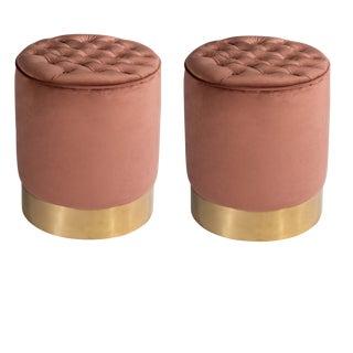 Paulette Tufted Rose and Gold Stools - a Pair For Sale