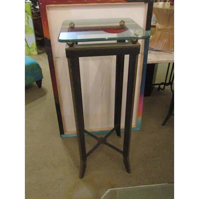 Brushed Steel Glass Topped Accent Table - Image 4 of 4