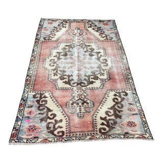 1960s Vintage Turkish Oushak Distressed Rug - 3′10″ × 6′5″ For Sale