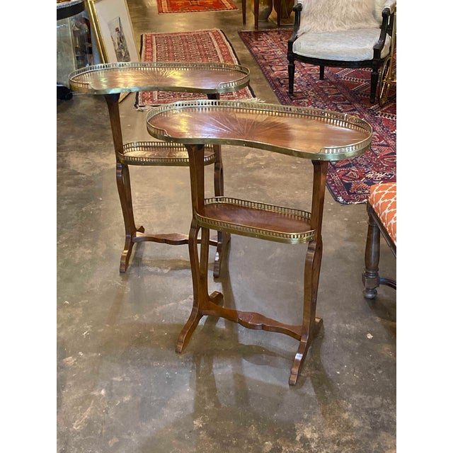 """Mahogany Kidney Shaped Tables Two Shelves Reticulated Brass Edge 24"""" Wide x 11"""" Deep x 29"""" High"""