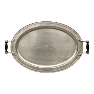 Vintage Metal Oval Tray W/ Black Wood Handles