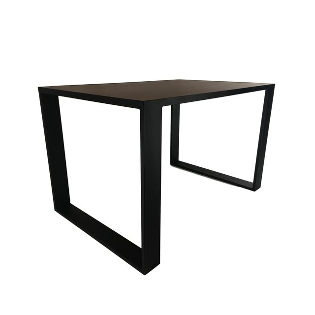 Rectangular Iron Cube Table with Embedded Wood Top, Dinner Table, Desk Table For Sale - Image 4 of 7