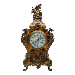 Antique Italian Rococo King Louis XV-Style Giltwood Ormolu Mantel Clock For Sale