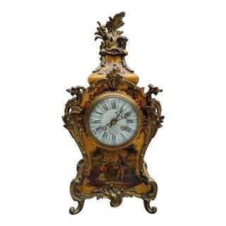 Antique Italian Rococo King Louis XV-Style Giltwood Ormolu Mantel Clock For Sale