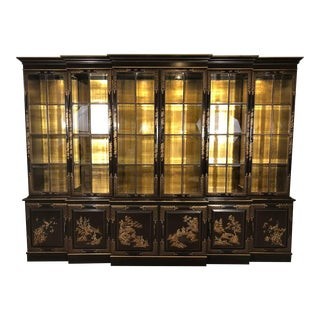 Chinoiserie Decorated Breakfront Bookcase Cabinet, Chocolate & Design Decorated For Sale