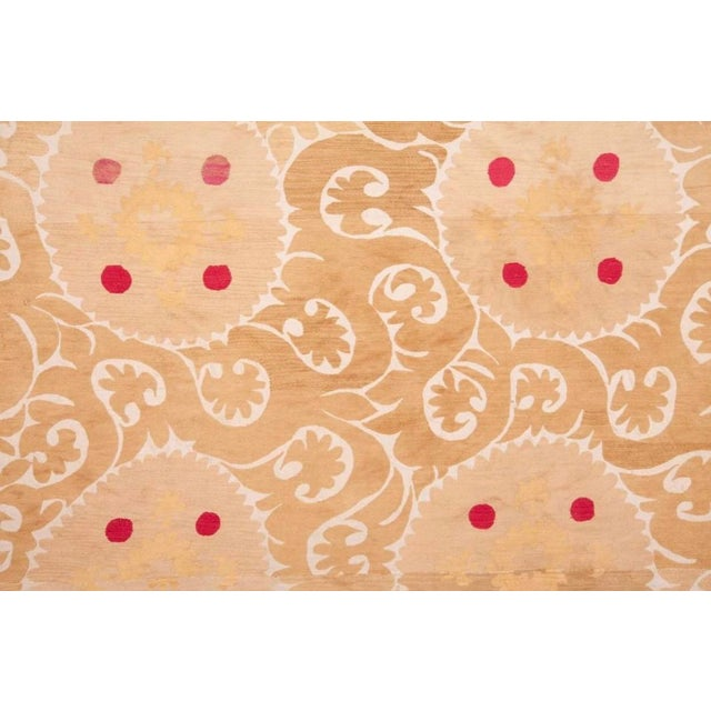 Mid 20th Century Samarkand Suzani Neutral Textile Rug Uzbek For Sale In Los Angeles - Image 6 of 7