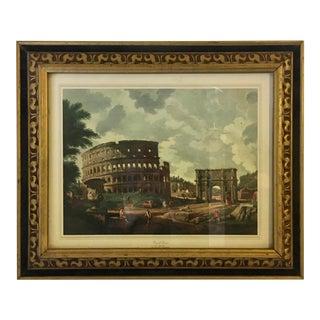 """1970s """"View of Rome"""" Print in Black Velvet Edged Frame For Sale"""