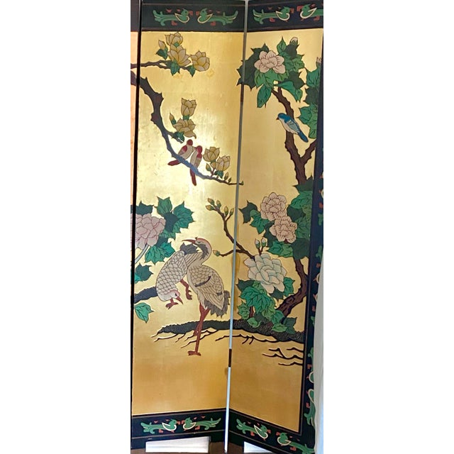 Six Panel Chinese Coromandel Gilt and Lacquer Screen For Sale - Image 4 of 10