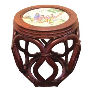 Vintage Asian Wood and Ceramic End Table For Sale