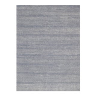 Mansour Modern Handwoven Blue Tribal Wool Rug For Sale