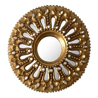 19th Century Italian Gilt Wood Sunburst Mirror For Sale