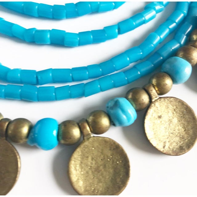 Vintage Beaded Turquoise Style Necklace With Faux Gold Metal Coins For Sale In Atlanta - Image 6 of 11