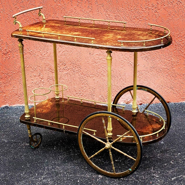 Vintage Aldo Tura Goatskin Bar Cart For Sale - Image 13 of 13