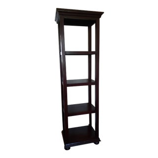 Rustic Narrow Solid Wood 5-Tier Bookcase Shelf Unit For Sale