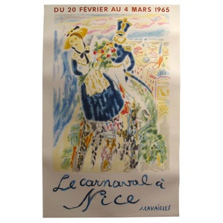 """1960's Original French Travel Poster - """"Le Carnavale a Nice """" - J. Cavailles For Sale"""