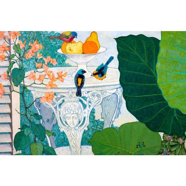 1960s Garden Lily Pond Oil Painting by Arthur Frederick Jessup For Sale - Image 5 of 13