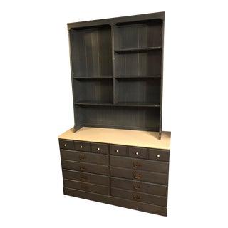 Baumritter / Ethan Allen Blue Living Bedroom Double Width Dresser and Hutch Set