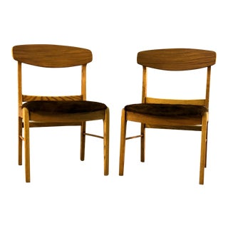 Oak Wood Dining Chairs w/ Cowhide - a Pair For Sale