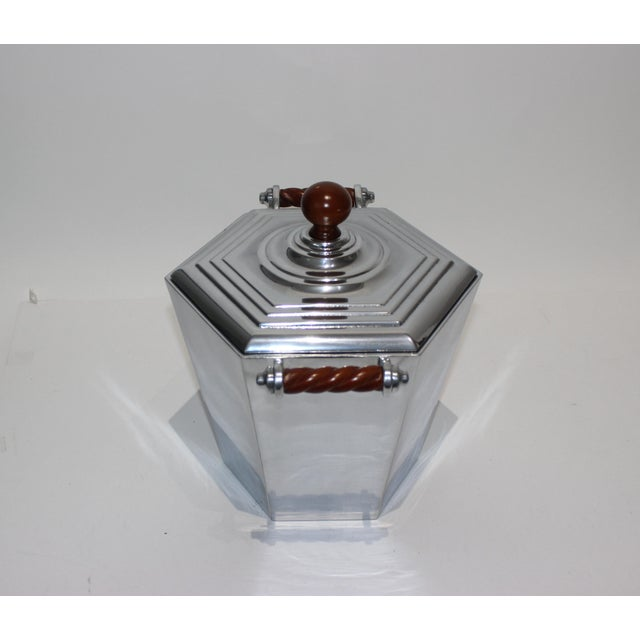Art Deco Reed & Barton Art Deco Revival Polished Aluminum Ice Bucket For Sale - Image 3 of 13
