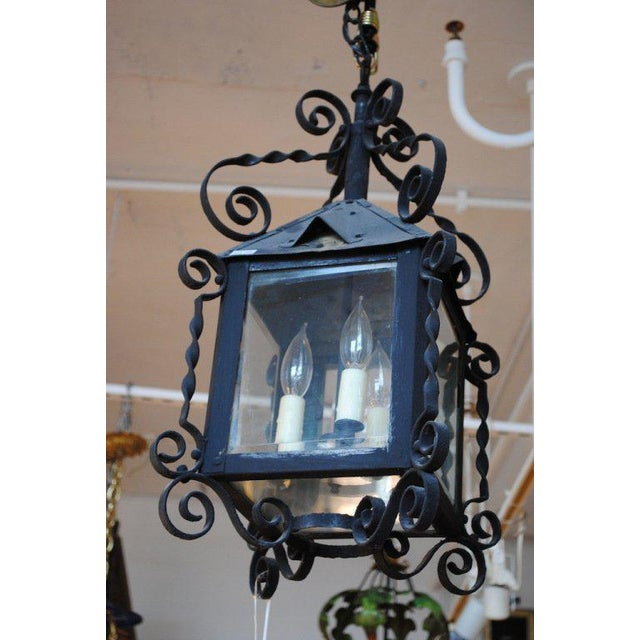 Arts & Crafts 19th Century Four-Sided Arts & Crafts Iron Lantern For Sale - Image 3 of 6