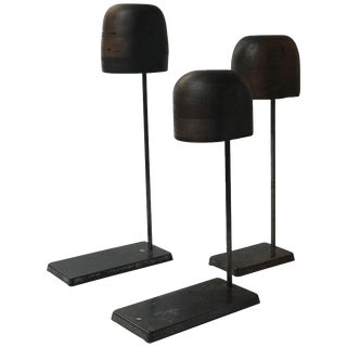 Set of Late 19th Century Wooden Hat Stands on Iron Bases From England For Sale