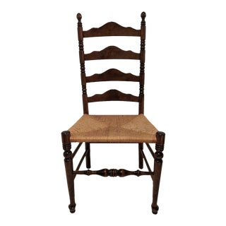 Ethan Allen Antiqued Pine Old Tavern Ladder Back Dining Side Chair with Rush Seat For Sale