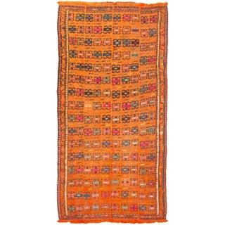 Vintage Mid-Century Orange Geometric Wool Rug - 4′ × 8′ For Sale
