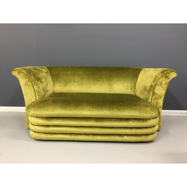Chartreuse Art Deco Inspired Sofa & Loveseat - A Pair - Image 6 of 7